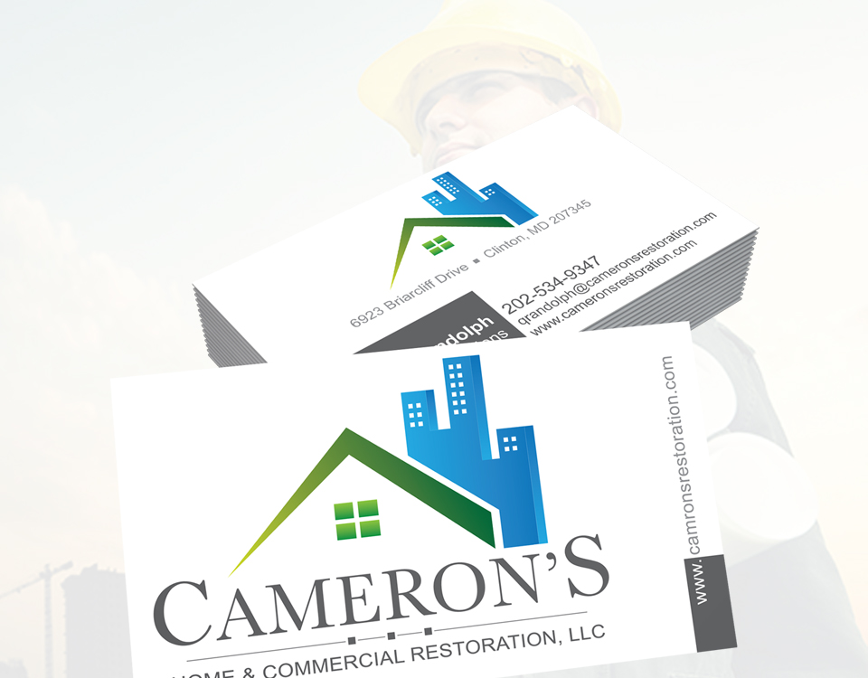 Cameron's Home and Commercial Restoration business card